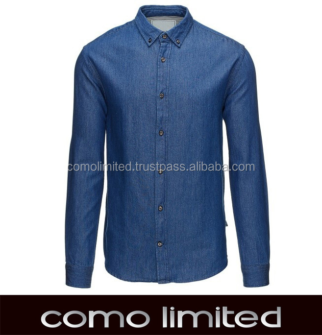 Fashion Denim Dark Blue Man Shirt