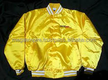 Wholesale Cheap Yellow Gold Plain Satin Varsity Jackets Mens Fashion Jacket College Varsity, Letterman Baseball Jacket