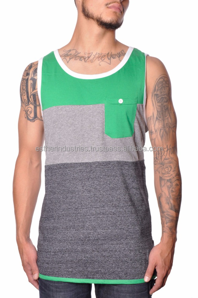 Mens Quality Summer Cotton Stripe Block Threads Stretch Casual Tank Top/Custom tank tops for men's/latest chest pocket design