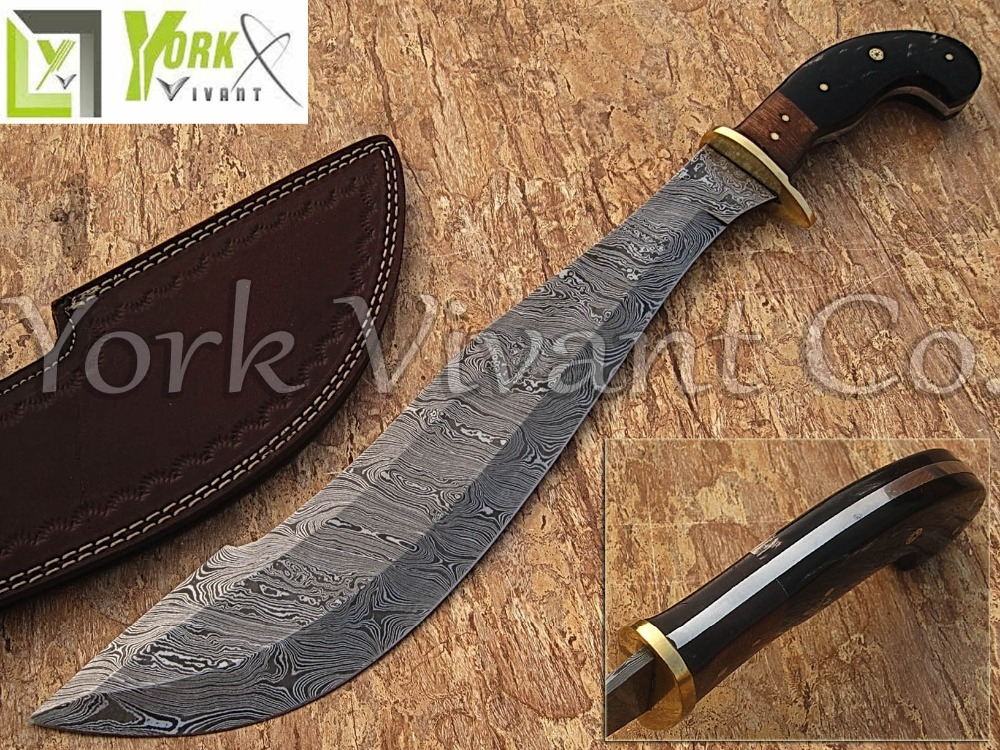 YORK VIVANT-Custom Handmade Damascus Steel Blade Traditional Sword YV-S2 Brass Bolster, Buffalo Horn & Walnut Wood Handle
