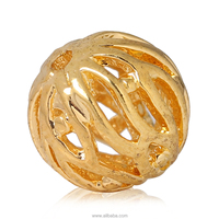 "Copper Spacer Beads Ball 18K Gold Plated Pattern Carved Hollow About 8mm( 3/8"") Dia"