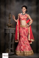 net and print fabric lehenga with patching work