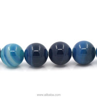 "(Grade B) Agate (Dyed) Loose Beads Ball Round W/Stripe Mixed 10.5mm Dia,39cm(15 3/8"") long,1 Strand(approx 38PCs)"