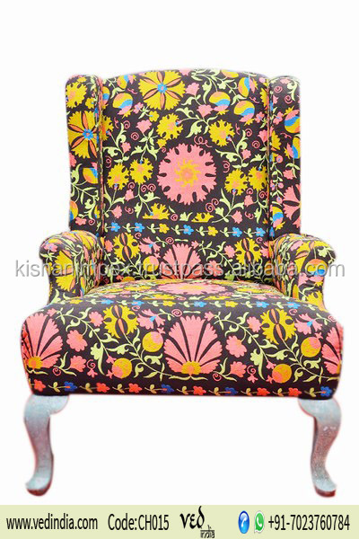 Kantha Sofa Patchwork Chairs Flower Pattern Modern Indoor Outdoor Single Maharaja Chair Furniture Wholesale Upholstered Chair