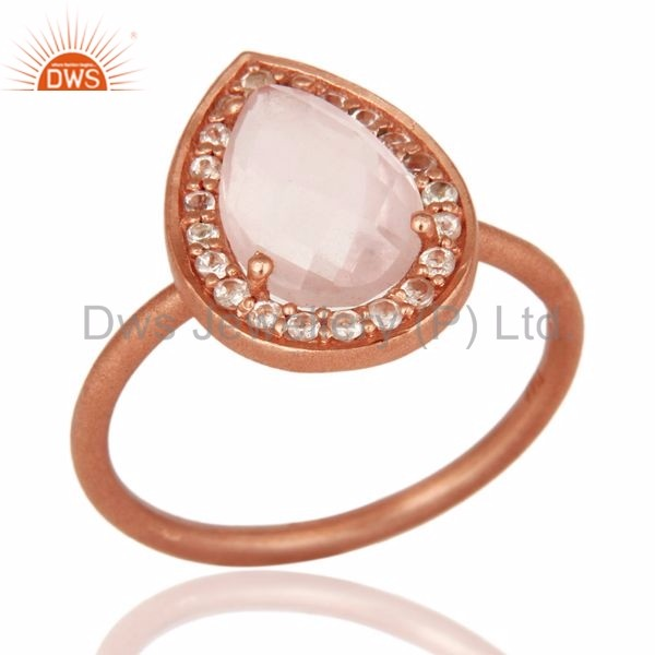 Manufacturer of Rose Quartz And White Topaz Gemstone Ring With Rose Gold Plated Sterling Silver Jewelry