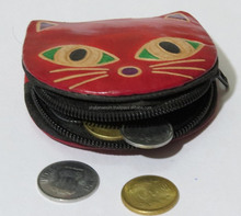 Fancy Coin pouch pure leather Cat design Zip gift purse mini slim bag