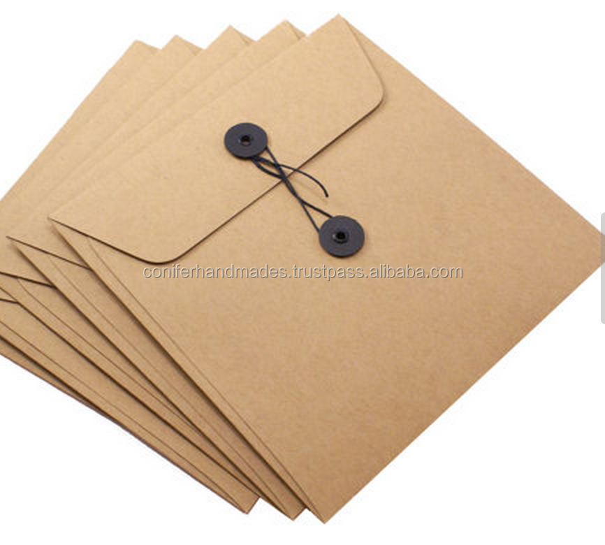 custom made string tie envelopes made from recycled kraft paper suitable for shirt packaging also available with logo print