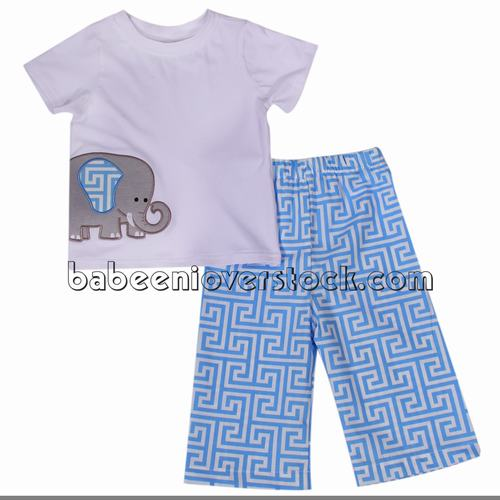 Lovely elephant appliqued clothing set for boys