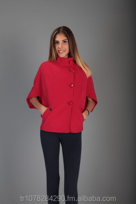 Fashionable Elegant Women Red Assymetrical Sleeves Coat High Quality Best Price From Turkey