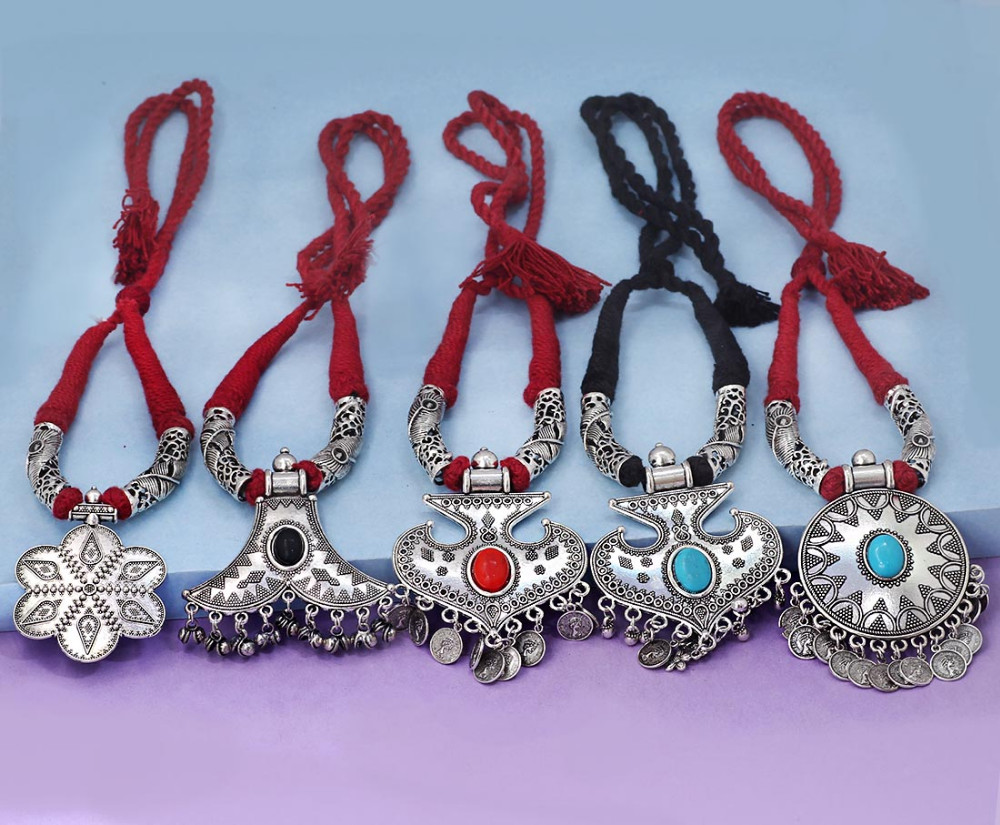 Jaipur Mart Wholesale Oxidised Silver Plated Jewelry Indian Traditional Design Necklace Combo Set for Fashion Girls & Women