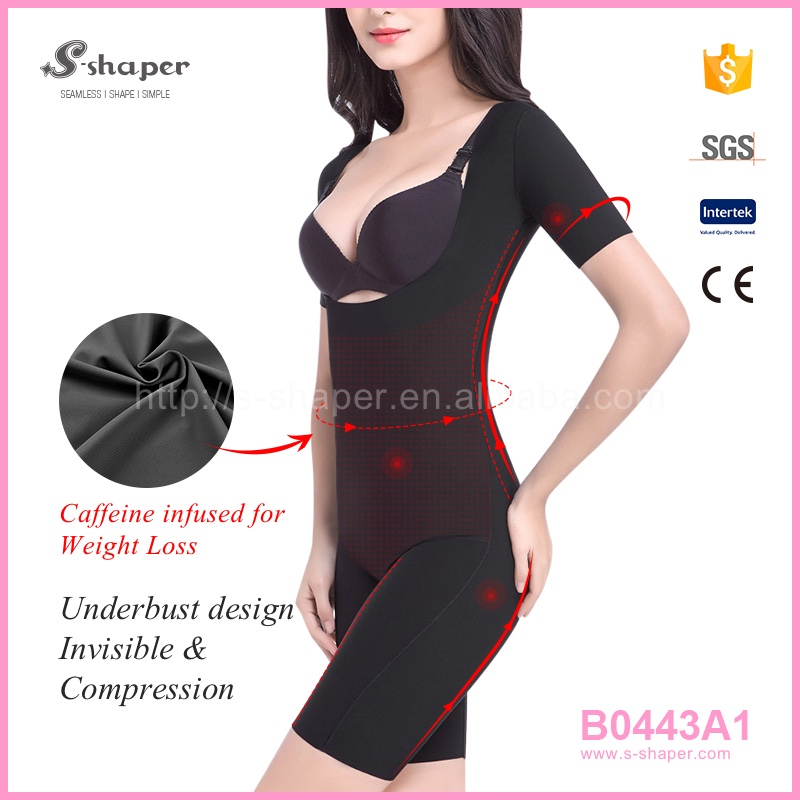 Slim Full Burn Fat Body Shaper Suit,Short Sleeve Women Corset,Caffeine Infused Bodysuit B0443A1
