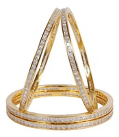 Indian Gold Plated American Diamond 4Pcs Set Bangle For Women