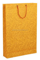 PREMIUM GIFT PAPER CARRY BAGS-GOLD PRINT ON MANGO BASE(PACK OF 10) -SIZE-16*11 INCES
