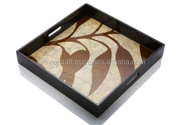 High quality best selling Leaves style Lacquered Square Serving Tray