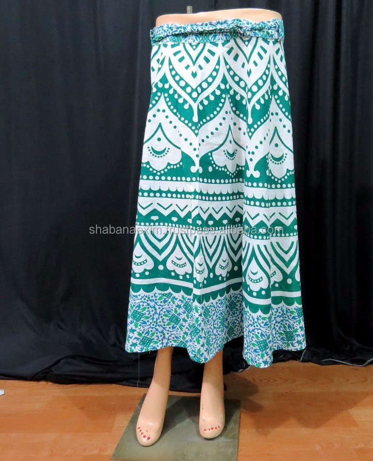 ombre mandala wrap round skirt cotton skirts beach dress