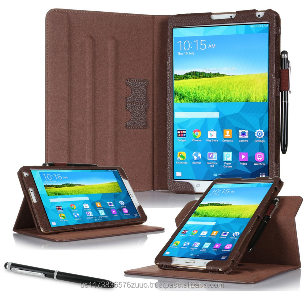 Dual View Slim Fit Premium PU Leather Folio case cover, detach inner sleeve for Galaxy Tab S 8.4 roocase (Brown)