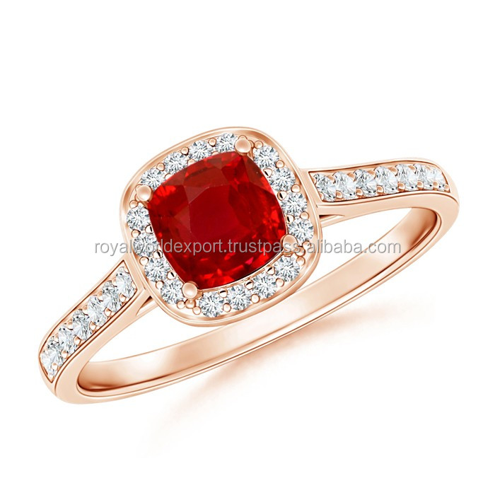 Split Shank Vintage Ruby Ring with Diamond Halo made in india use in wedding