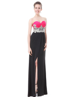Strapless Padded Empire Line Split Ladies Long Evening Dress HE09874 Mix Wholesale