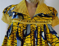 African tribal print smock dress yellow blue loose african print maternity smock midi dress size S/M