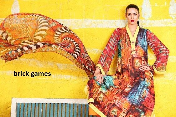 Three piece Digital Print lawn Swiss voile salwar kameez suit in Brick Games digital print /Wholesale suppliers of salwar kameez
