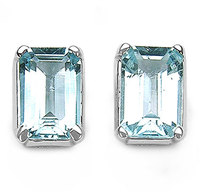 2.15ctw Genuine Blue Topaz Gemstone Octagon Shape Earring, new model stud earring, 925 Silver Gemstone Earring Jewelry
