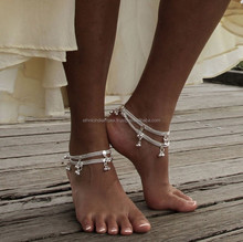 SILVER TONE BELL chain ANKLETS PAYAL pair