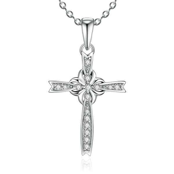 Hot Sale Flower Cross Pendant Sterling 925 Silver Plated 18K White Gold Light Weight Wax Setting Pendant Necklace Jewelry