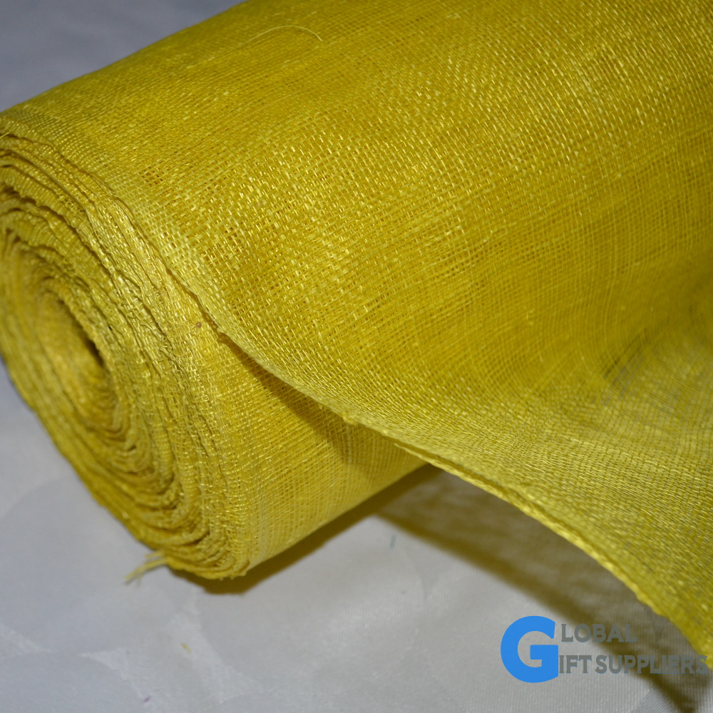 "Sinamay Yellow Fabric For Church Hats(36"" x 25 meters)"