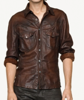 2015 Latest designs brown PU leather blank casual pocket zipper long sleeve dress shirt for men