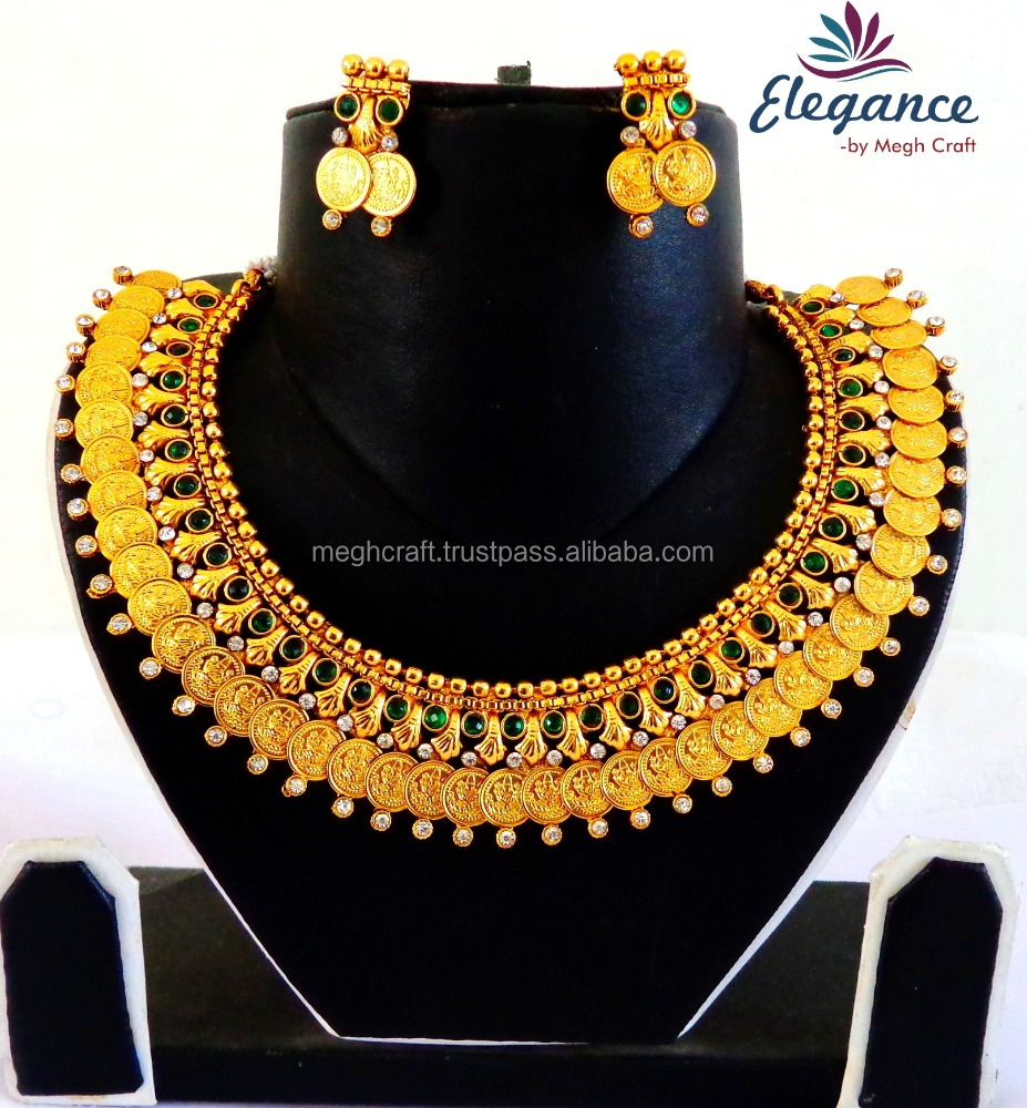 Images of jewellery kenetiks com - South Indian Lakshmi Coin Jewellery Set Wholesale One Gram Gold Plated Necklace Set Traditional Temple Jewelry Buy Indian Bridal Gold Jewellery