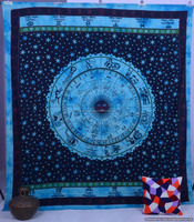 Indian Tapestry Queen Size Ethnic Wall Hanging Astrology Printed Bedspread Throw Bed Sheet