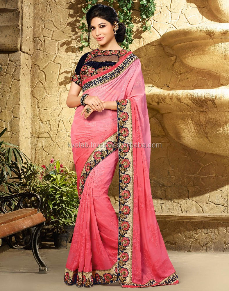 LATEST FLORAL EMBROIDERY HEAVY BORDER PINK GEORGETTE SAREE WITH DESIGNER BLOUSE