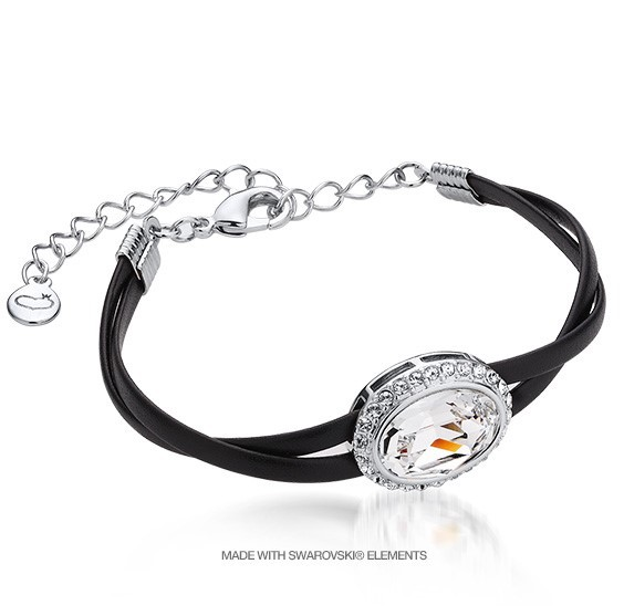MADE IN KOREA JEWELRY Victoria Crystal Leather Bracelet(8400-01&02-BR)