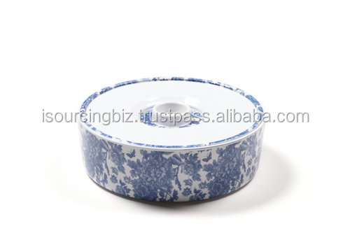 RTMO001 Melamine Round Candy Cooky Container 120x120x70mm Delft Blue Print
