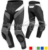 Black And White Color Motorbike Racing pant with connection zip, Leather pan,2016