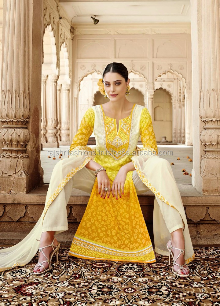 Yellow Color Self Design With White & yellow Embroidery Border Designer Semi Stitch Salwar Kameez