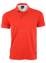 100% Cotton Custom Men Red Polo Shirt with Grey panel inside Neck and Leather Patch at front chest