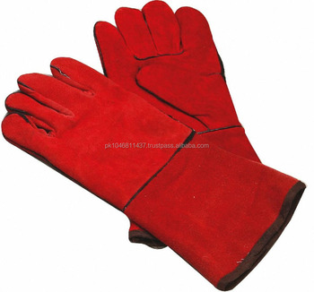 Red Color Cow Split Leather Welding Gloves