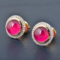 14k Yellow Gold Diamond Stud Earring Pink Onyx Stone Earring Wedding Jewelry