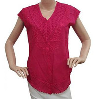 Ethnic Top Embroidered Magenta Cotton Kurti Blouse Crochet Fashion Gift SZ M TOP1687