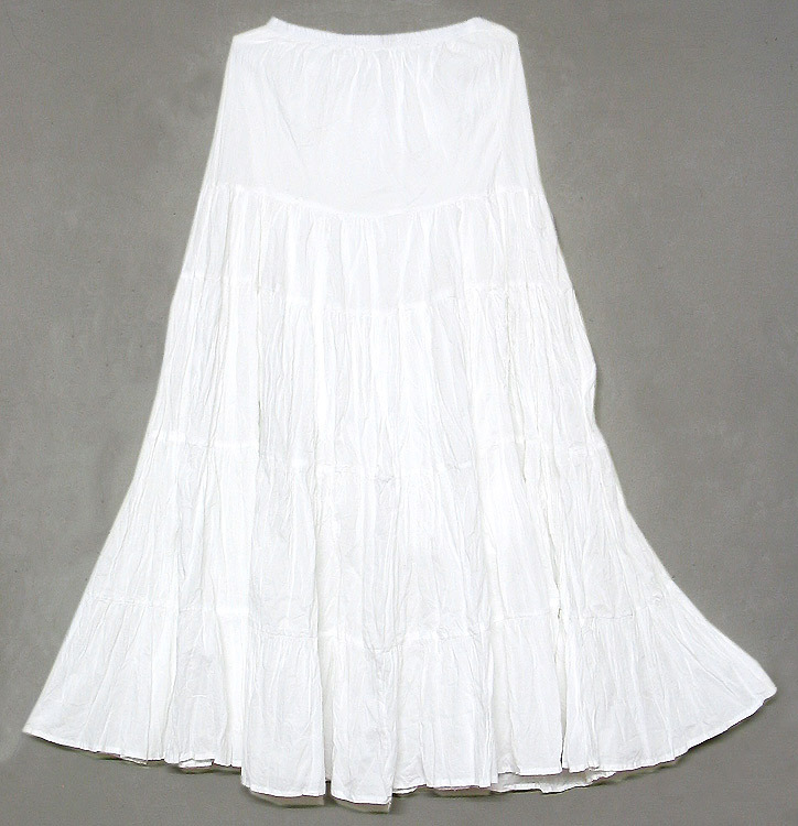 Ladies Cotton Cambric White Long Tier Skirt - Buy Plain White ...