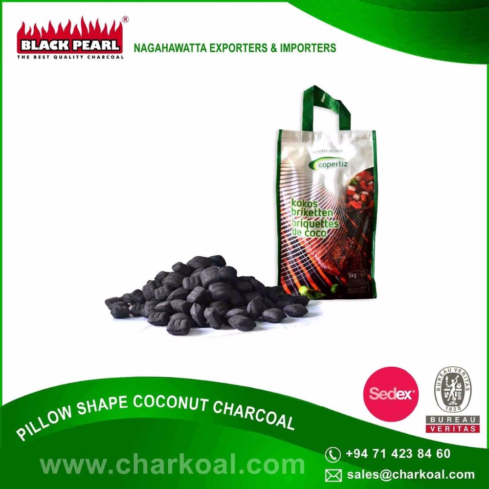 Less Odor and Smoke Generating Pillow Shape Charcoal for Sale