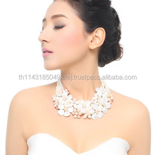 Top Sweet Pearl Freshwater Pearl and Mother of Pearl Handmade Necklace Glamorous Statement Jewelry