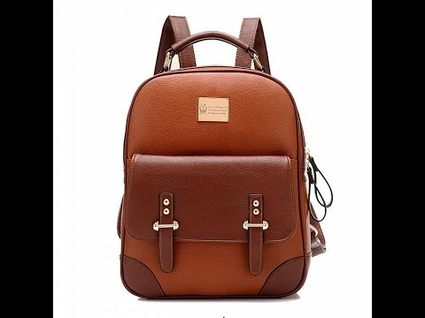 Tinksky Girl School Backpack Vintage Faux Leather Shoulder Travel Bag