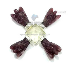 Wholesale Spiritual Wiccan Products : Energy Generator with 4 Lepidolite Angels and Crystal Quartz Pyramid