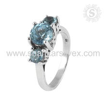 Huge Selection of 925 Silver Blue Topaz Ring Natural Gemstone Silver Jewelry Sterling Silver Manufacture