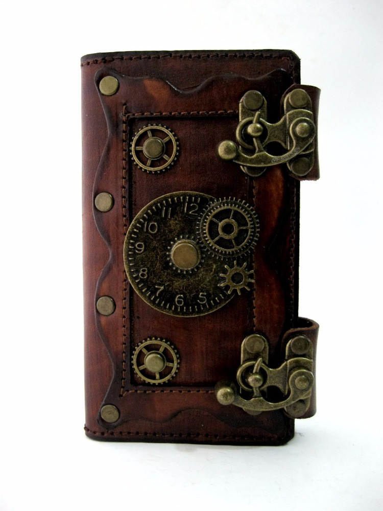 vegetabe cow leather phone cover steampunk emblem