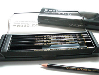 TOMBOW MONO100 , highest quality 17 hardness wood pencil with plastic case