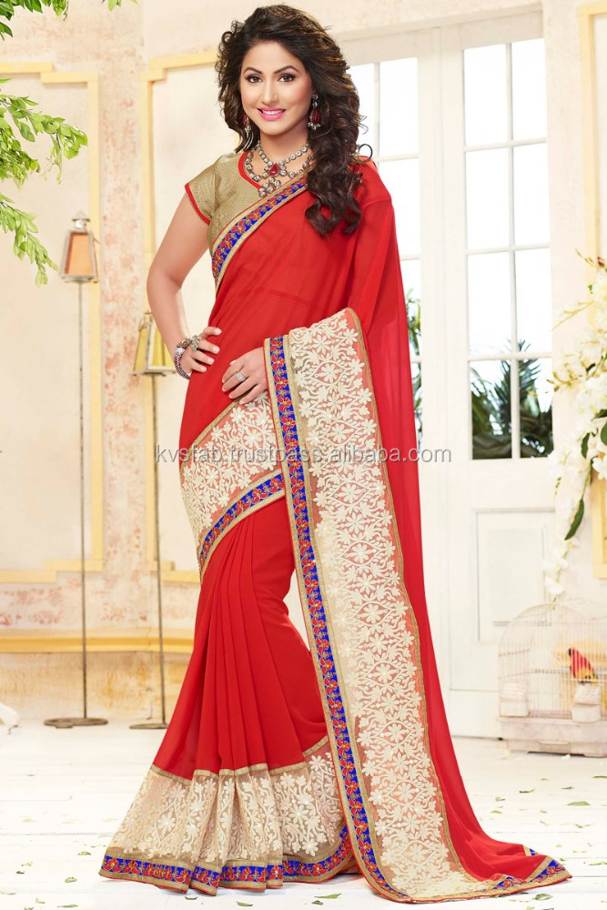 Georgette Net red and cream borderd Lace Boder Saree-online shopping saree-2802 Ahalya