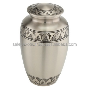 Classic Pewter Leaf Band Cremation Urn